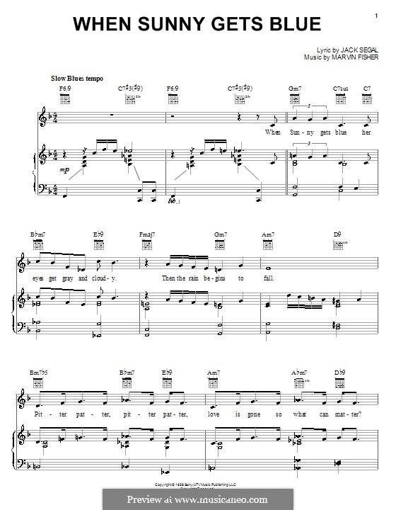 When Sunny Gets Blue (Frank Sinatra): Für Stimme und Klavier (oder Gitarre) by Marvin Fisher