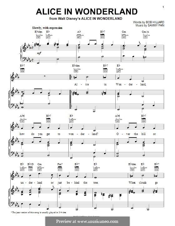 Alice in Wonderland (Bill Evans): Für Stimme und Klavier (oder Gitarre) by Bob Hilliard, Sammy Fain