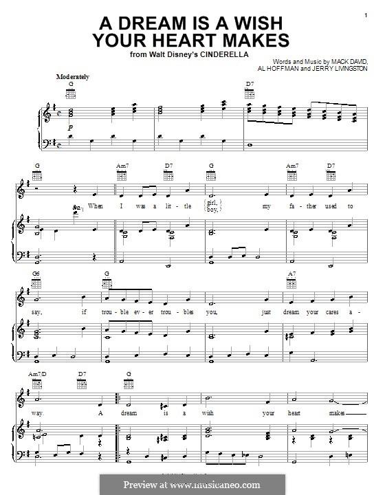 A Dream Is a Wish Your Heart Makes (from Disney's Cinderella): Für Stimme und Klavier oder Gitarre (G-Dur) by Al Hoffman, Jerry Livingston, Mack David