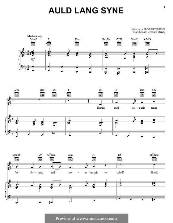 Auld Lang Syne: Für Stimme und Klavier oder Gitarre (F-Dur) by folklore