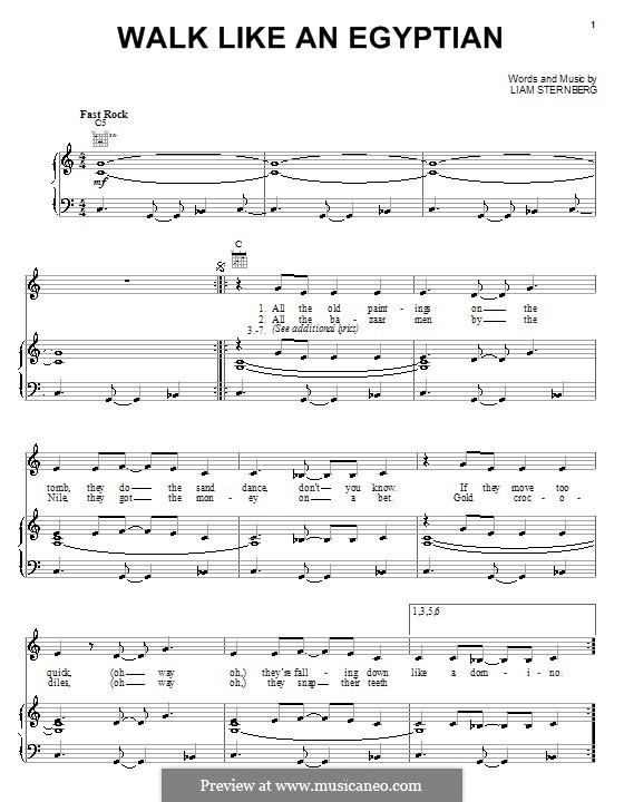 Walk Like an Egyptian (The Bangles): Für Stimme und Klavier (oder Gitarre) by Liam Sternberg