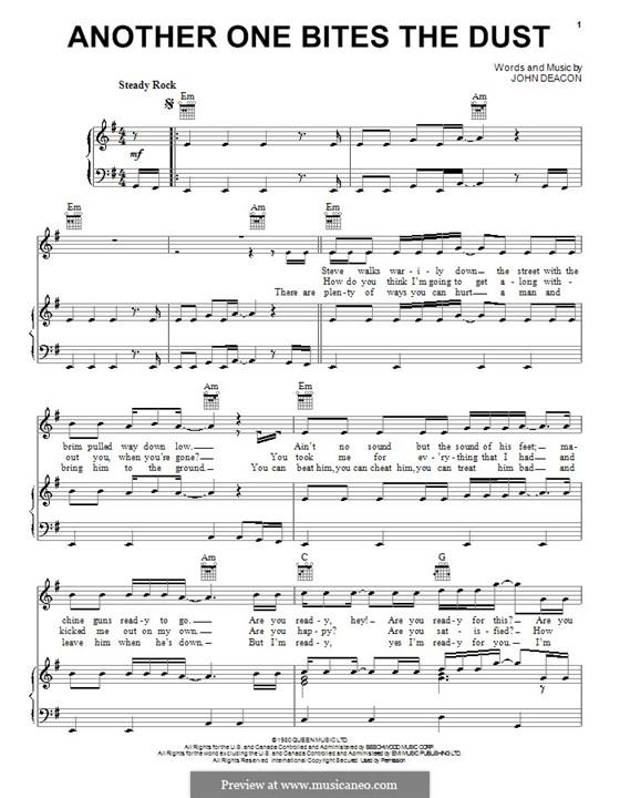 Another One Bites the Dust (Queen): Für Stimme und Klavier (oder Gitarre) by John Deacon