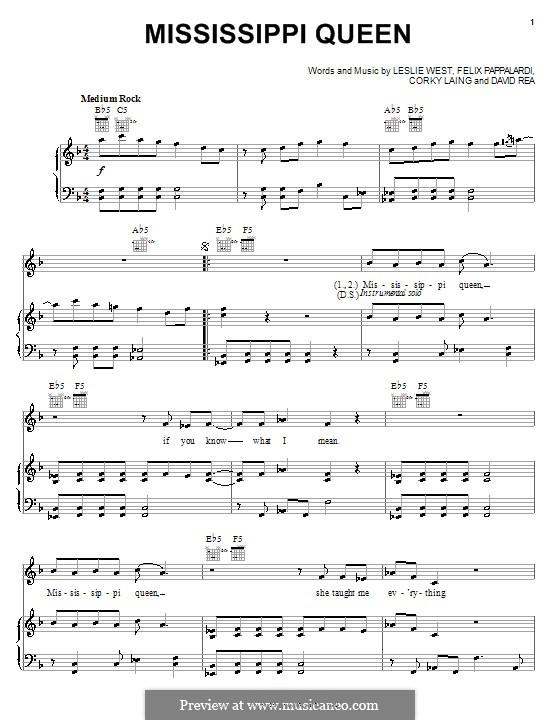 Mississippi Queen (Mountain): Für Stimme und Klavier (oder Gitarre) by Corky Laing, David Rea, Felix Pappalardi, Leslie West