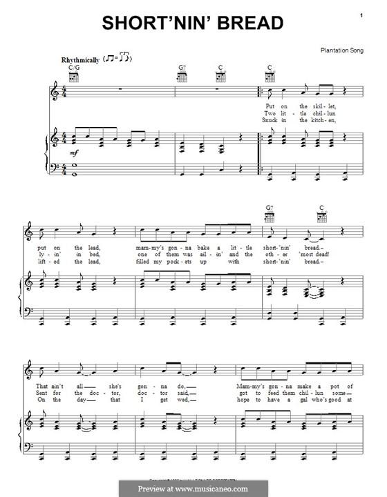 Short'nin' Bread: Für Stimme und Klavier (oder Gitarre) by folklore