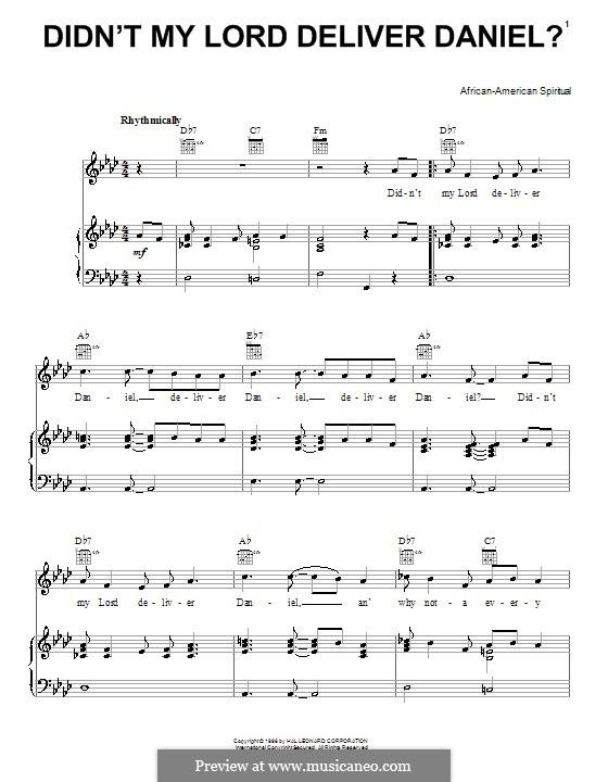 Didn't My Lord Deliver Daniel?: Für Stimme und Klavier (oder Gitarre) by folklore