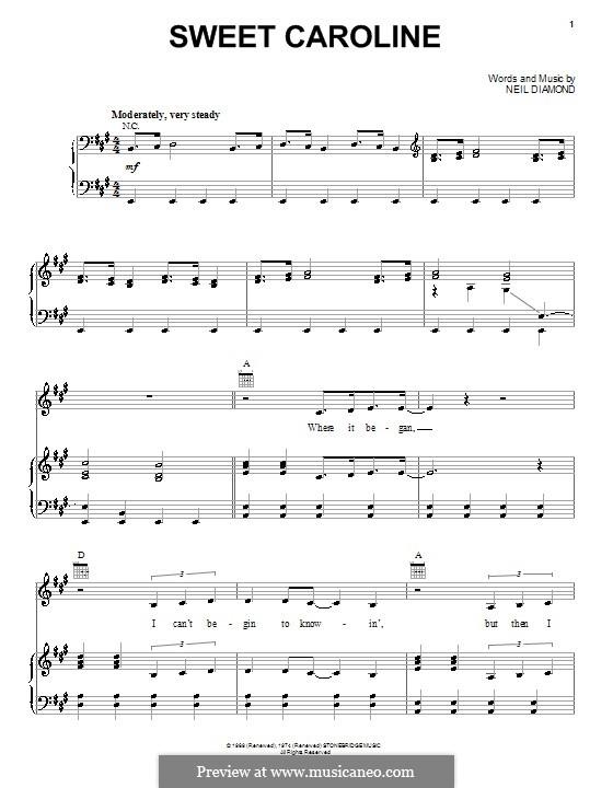 Sweet Caroline: Für Stimme und Klavier (oder Gitarre) by Neil Diamond
