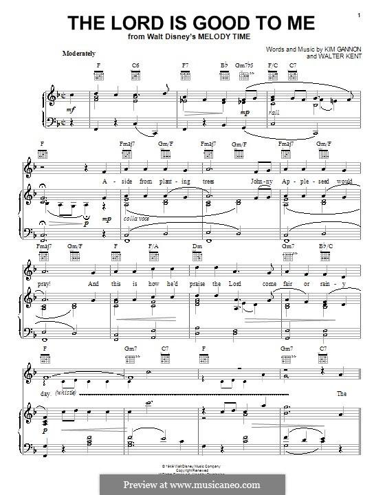 The Lord Is Good To Me: Für Stimme und Klavier (oder Gitarre) by Walter Kent