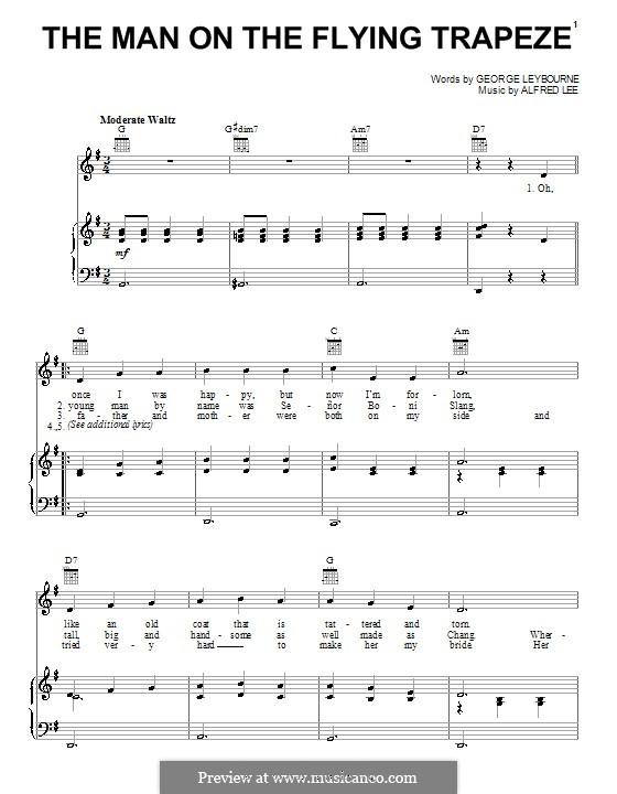 The Man on the Flying Trapeze: Für Stimme und Klavier (oder Gitarre) by Alfred Lee