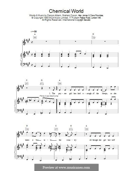 Chemical World (Blur): Für Stimme und Klavier (oder Gitarre) by Alex James, Damon Albarn, David Rowntree, Graham Coxon