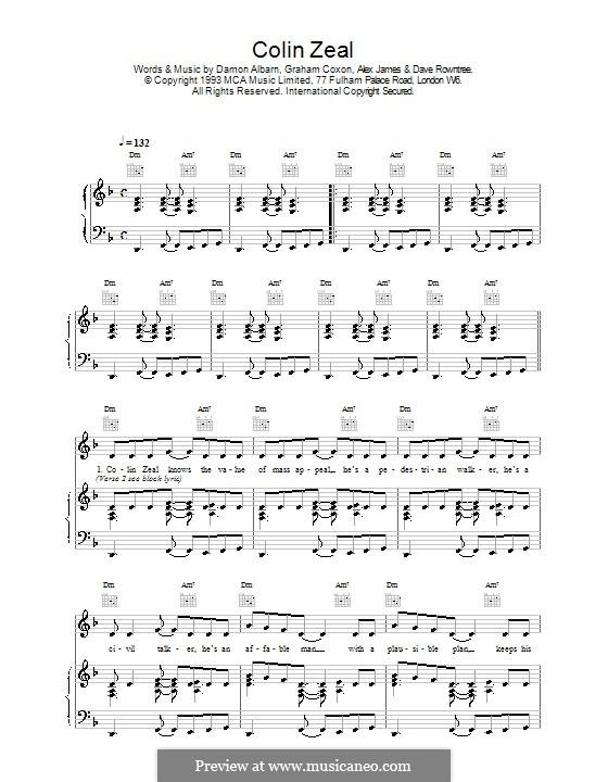 Colin Zeal (Blur): Für Stimme und Klavier (oder Gitarre) by Alex James, Damon Albarn, David Rowntree, Graham Coxon