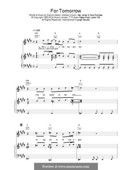 For Tomorrow (Blur): Für Stimme und Klavier (oder Gitarre) by Alex James, Damon Albarn, David Rowntree, Graham Coxon