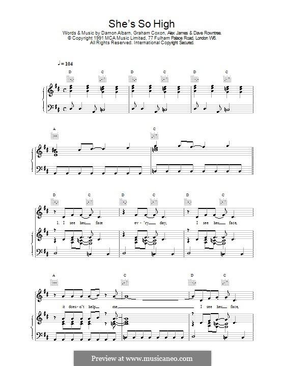 She's So High (Blur): Für Stimme und Klavier (oder Gitarre) by Alex James, Damon Albarn, David Rowntree, Graham Coxon