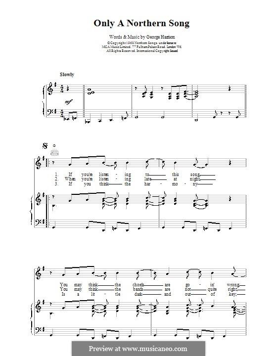 Only a Northern Song (The Beatles): Für Stimme und Klavier (oder Gitarre) by George Harrison