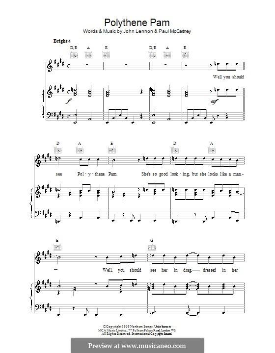 Polythene Pam (The Beatles): Für Stimme und Klavier (oder Gitarre) by John Lennon, Paul McCartney