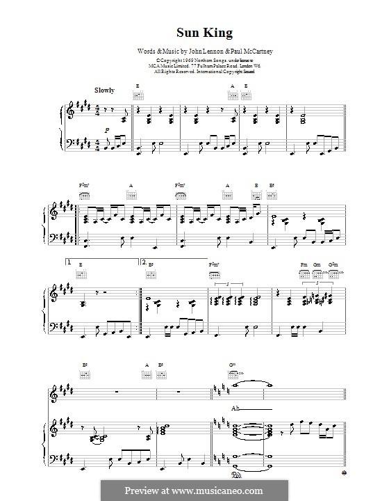 Sun King (The Beatles): Für Stimme und Klavier (oder Gitarre) by John Lennon, Paul McCartney