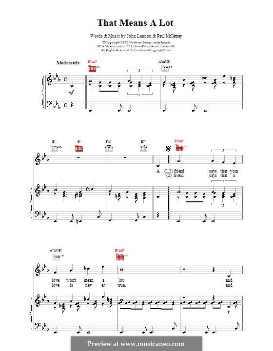 That Means a Lot (The Beatles): Für Stimme und Klavier (oder Gitarre) by John Lennon, Paul McCartney