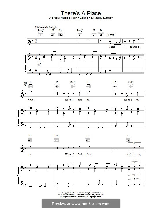 There's a Place (The Beatles): Für Stimme und Klavier (oder Gitarre) by John Lennon, Paul McCartney