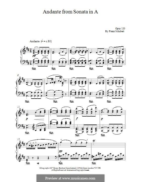 Sonate für Klavier Nr.13 in A-Dur, D.664 Op.120: Andante by Franz Schubert