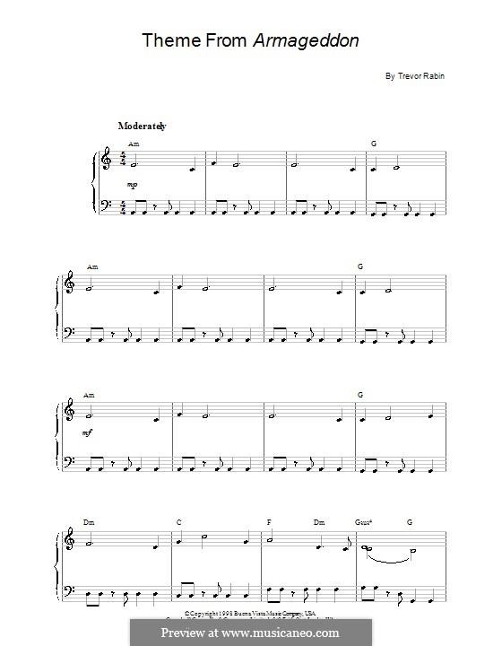 Armageddon: Einfache Noten für Klavier by Trevor Rabin