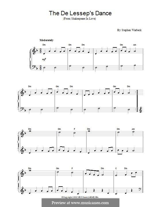The de Lessep's Dance (from Shakespeare in Love): Einfache Noten für Klavier by Stephen Warbeck