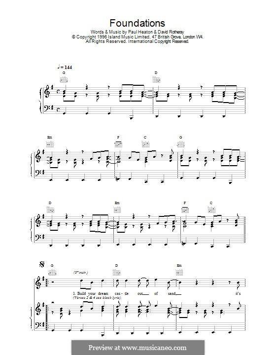 Foundations (The Beautiful South): Für Stimme und Klavier (oder Gitarre) by David Rotheray, Paul Heaton