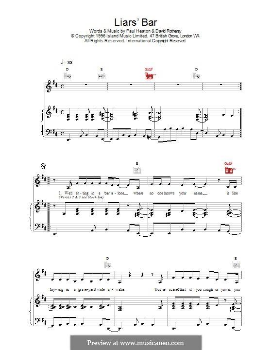 Liar's Bar (The Beautiful South): Für Stimme und Klavier (oder Gitarre) by David Rotheray, Paul Heaton