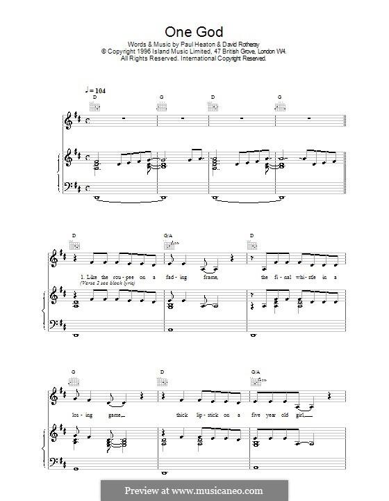 One God (The Beautiful South): Für Stimme und Klavier (oder Gitarre) by David Rotheray, Paul Heaton