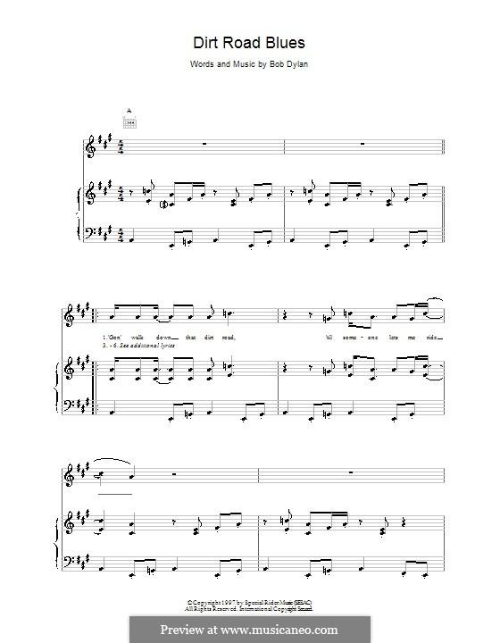 Dirt Road Blues: Für Stimme und Klavier (oder Gitarre) by Bob Dylan