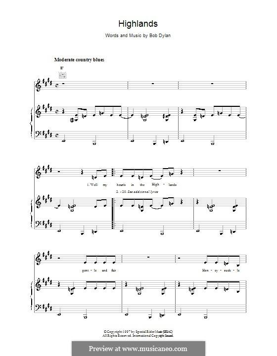 Highlands: Für Stimme und Klavier (oder Gitarre) by Bob Dylan