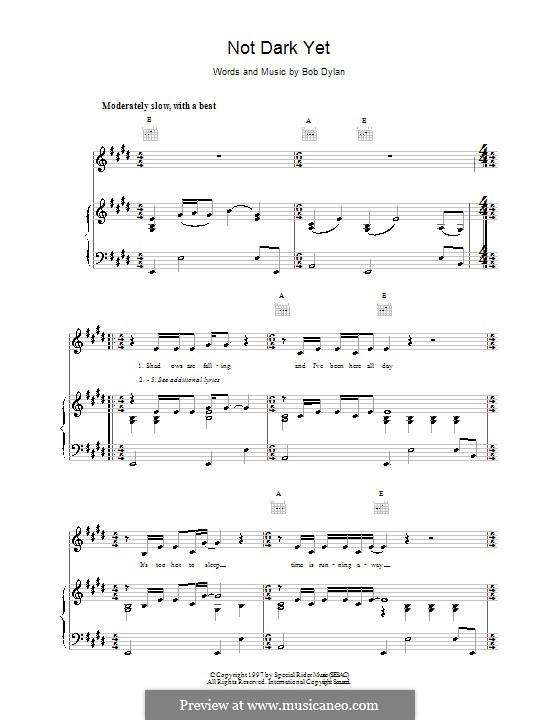 Not Dark Yet: Für Stimme und Klavier (oder Gitarre) by Bob Dylan