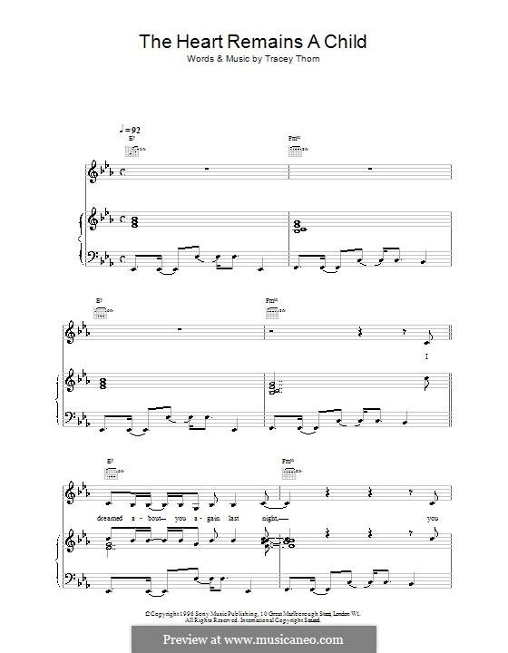 The Heart Remains a Child (Everything But the Girl): Für Stimme und Klavier (oder Gitarre) by Tracey Thorn