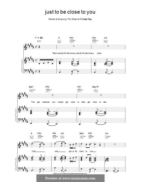 Just To Be Close To You (Backstreet Boys): Für Stimme und Klavier (oder Gitarre) by Michael Gray, Tim Grant