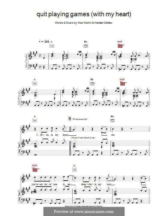 Quit Playing Games (With My Heart): Für Stimme mit Klavier oder Gitarre (Backstreet Boys) by Herbie Crichlow, Max Martin