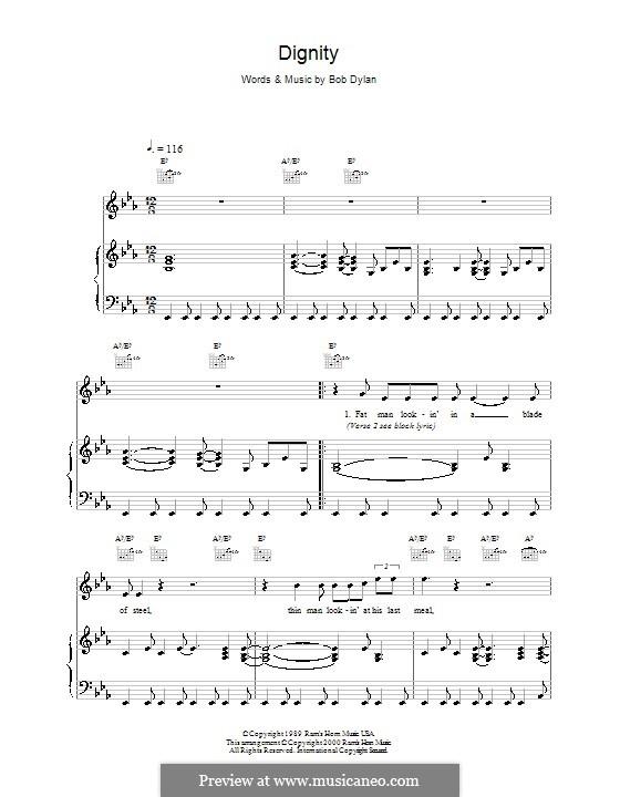 Dignity: Für Stimme und Klavier (oder Gitarre) by Bob Dylan