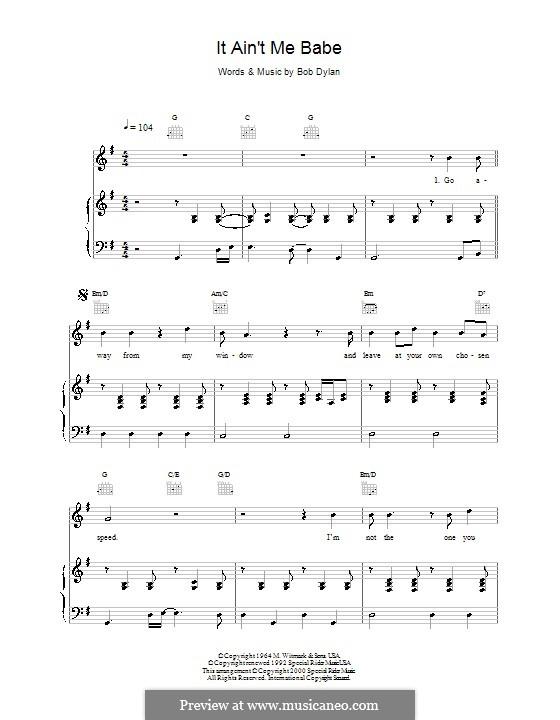 It Ain't Me Babe: Für Stimme und Klavier (oder Gitarre) by Bob Dylan