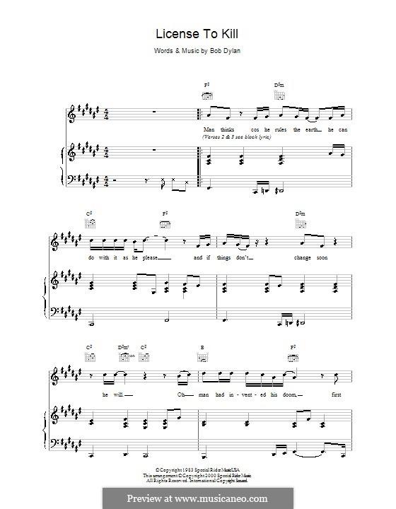 Licence to Kill: Für Stimme und Klavier (oder Gitarre) by Bob Dylan