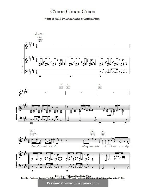 C'mon C'mon C'mon: Für Stimme und Klavier (oder Gitarre) by Bryan Adams, Gretchen Peters