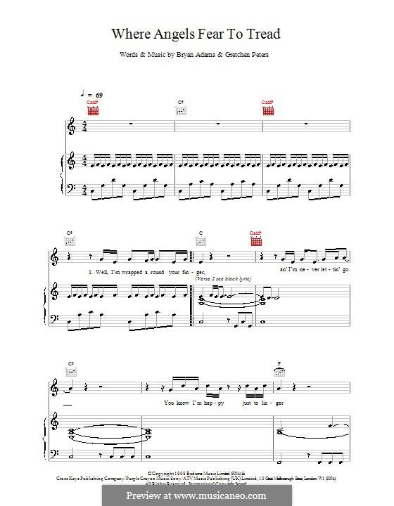 Where Angels Fear to Tread: Für Stimme und Klavier (oder Gitarre) by Gretchen Peters