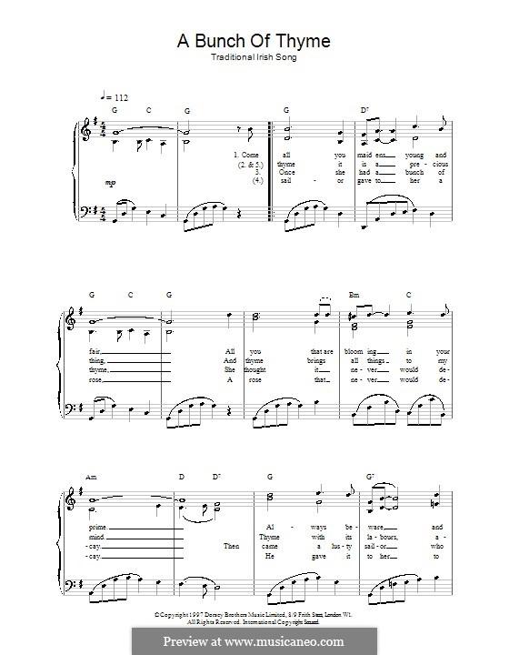 A Bunch of Thyme: Für Stimme und Klavier (oder Gitarre) by folklore