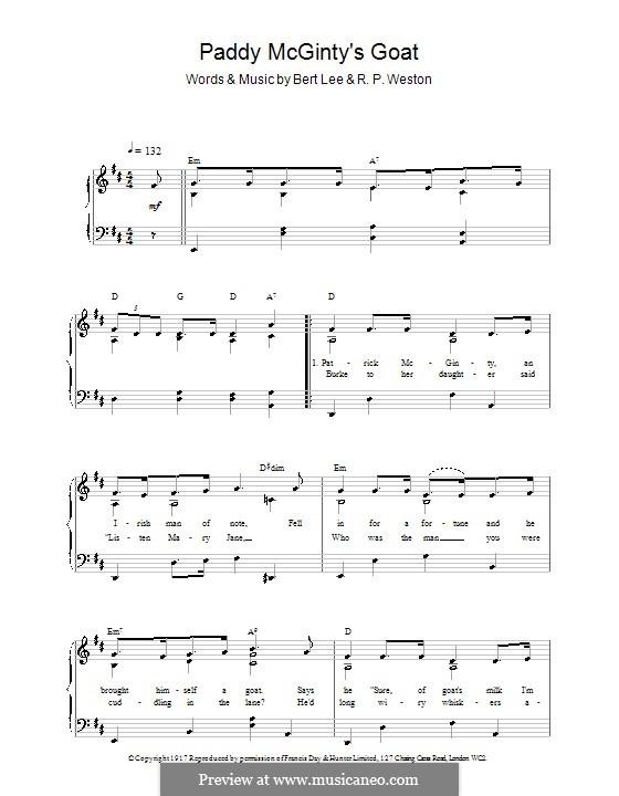 Paddy McGinty's Goat: Für Stimme und Klavier (oder Gitarre) by R. P. Weston