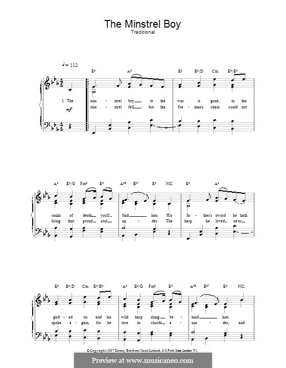 The Minstrel Boy (The Moreen): Für Stimme und Klavier (oder Gitarre) by folklore