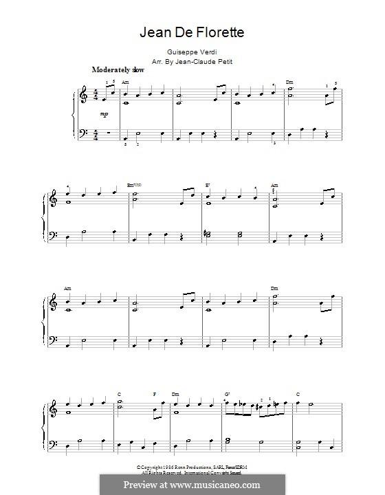 Jean de Florette: Einfache Noten für Klavier by Giuseppe Verdi