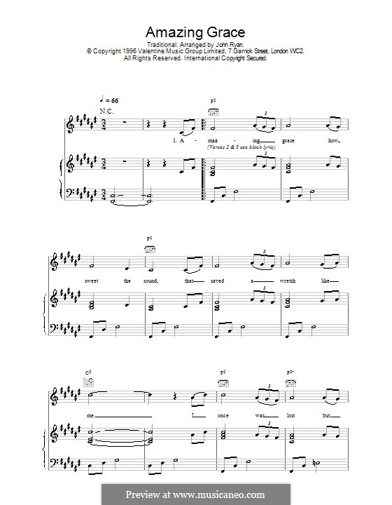 Amazing Grace (Printable Scores): Für Stimme mit Klavier oder Gitarre (F Sharp Major) by folklore