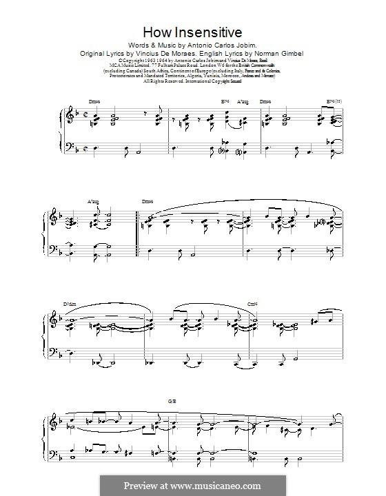 How Insensitive (Insensatez): Für Klavier by Antonio Carlos Jobim