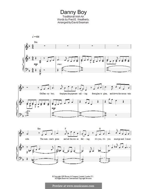 Danny Boy (Londonderry Air) Printable Scores: Für Stimme und Klavier (oder Gitarre) by folklore