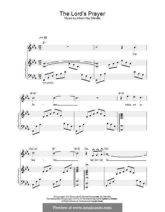 The Lord's Prayer: Für Stimme und Klavier (oder Gitarre) by Albert H. Malotte