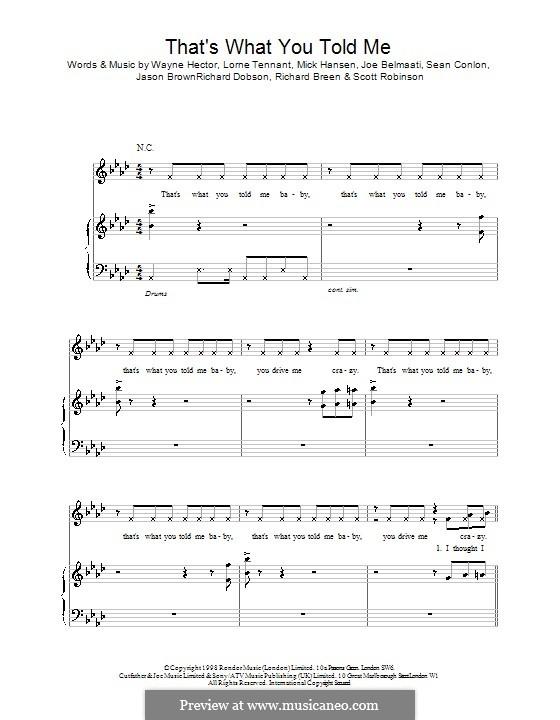 That's What You Told Me (Five): Für Stimme und Klavier (oder Gitarre) by Lorne Tennant, Mich Hansen, Wayne Anthony Hector