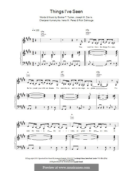 Things I've Seen (Spooks): Für Stimme und Klavier (oder Gitarre) by Booker T. Tucker, Chenjerai Kumanyika, Joseph M. Davis