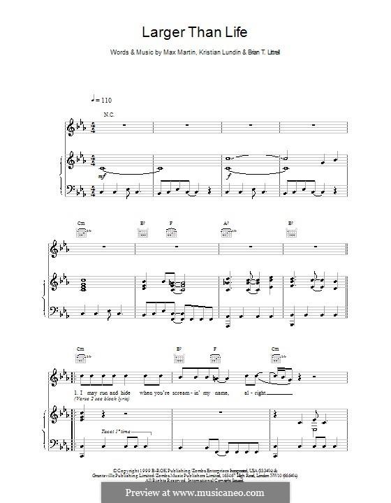 Larger Than Life (Backstreet Boys): Für Stimme und Klavier (oder Gitarre) by Brian T. Littrell, Kristian Lundin, Max Martin