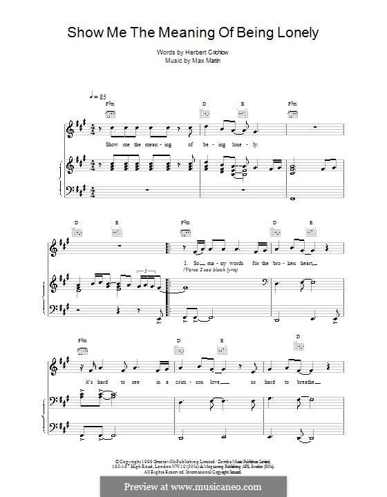 Show Me the Meaning of Being Lonely (Backstreet Boys): Für Stimme und Klavier (oder Gitarre) by Max Martin